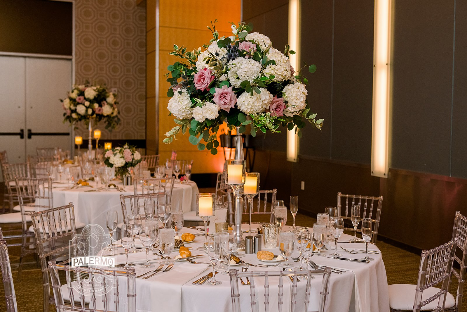 navy blush white wedding Fairmont Pittsburgh ballroom tall floral centerpiece